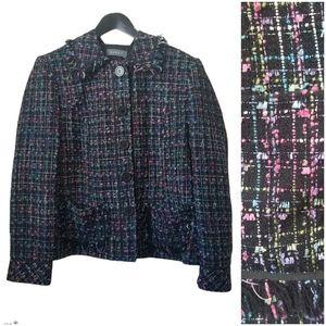 Koret womens Tweed jacket fringe collar & pockets